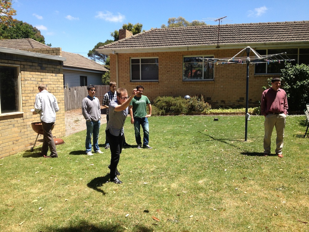 Lab members playing Pétanque at a house on Beddoe Avenue.  A group tradition started many years ago when the research group was once based there!